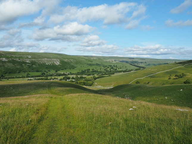 Looking back down into Littondale from the bridleway climbing away from Arncliffe Cote