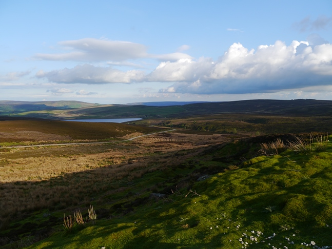 Looking back down Barden Moor to the lower reservoir