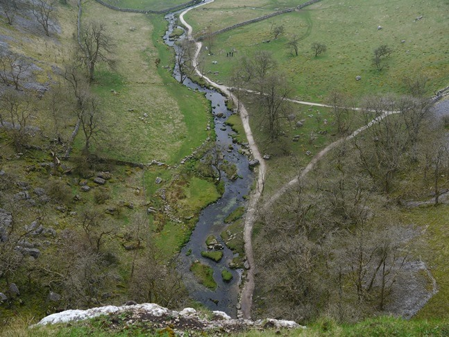 Looking down to Malham Beck from the edge of Malham Cove