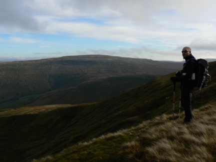 Matt stood above Great Combe with Whernside in the distance