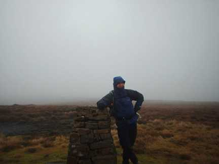 Matt by the trig point on Nine Standards Rigg