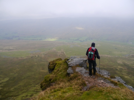 Matt looking down into Mallerstang from The Nab
