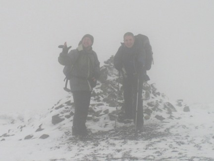 Matt and I by the summit cairn on Buckden Pike