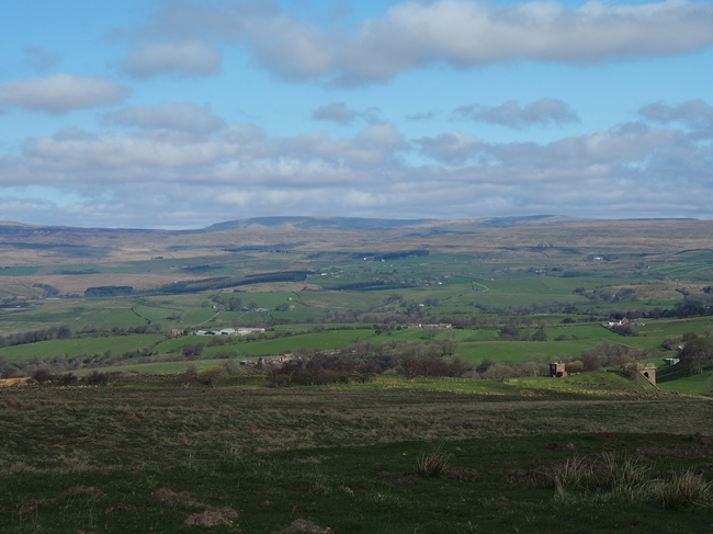 The view from the parking area north to Mickle Fell