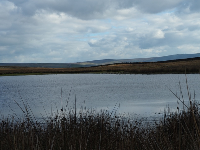 Mossy Moor Reservoir with Great Pockstones and Simon's Seat in the far distance