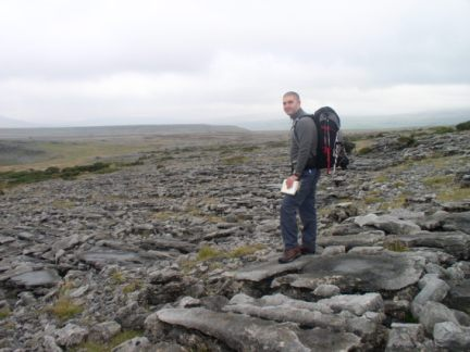 Matt on the limestone encrusted flank of Moughton