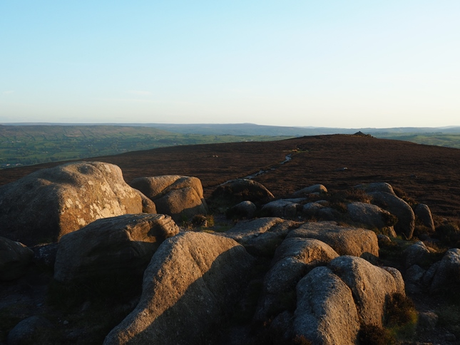 The rocks on Old Pike, the true summit of Beamsley Beacon, looking towards the beacon site and trig point
