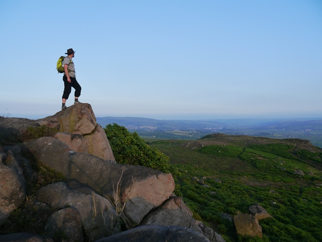 On one of the gritstone outcrops of the nameless top