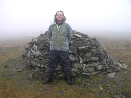 By the summit cairn on Fountains Fell