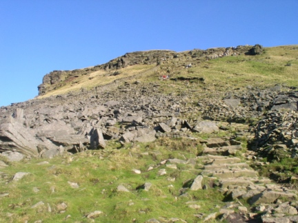 The steep section on the ascent of Pen-y-Ghent