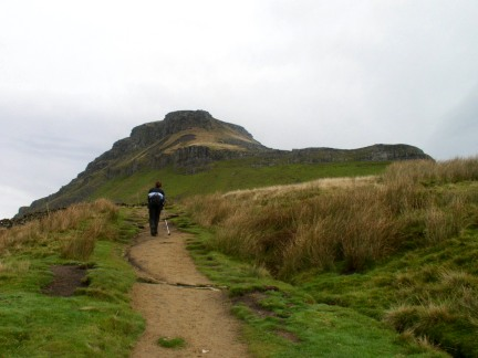 Lisa approaching Pen-y-Ghent on the Pennine Way