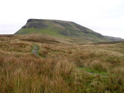 Looking back along the Pennine Way towards Pen-y-Ghent