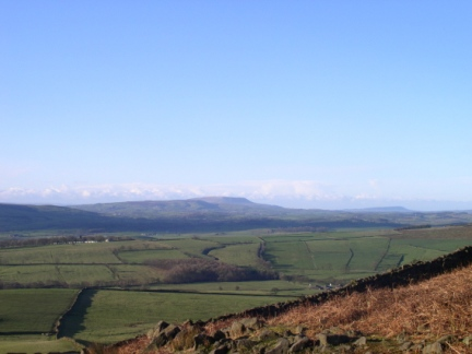 Looking south west to Weets Hill, Pendle Hill and Longridge Fell