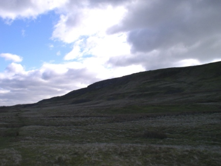 Looking up to Penhill Scar