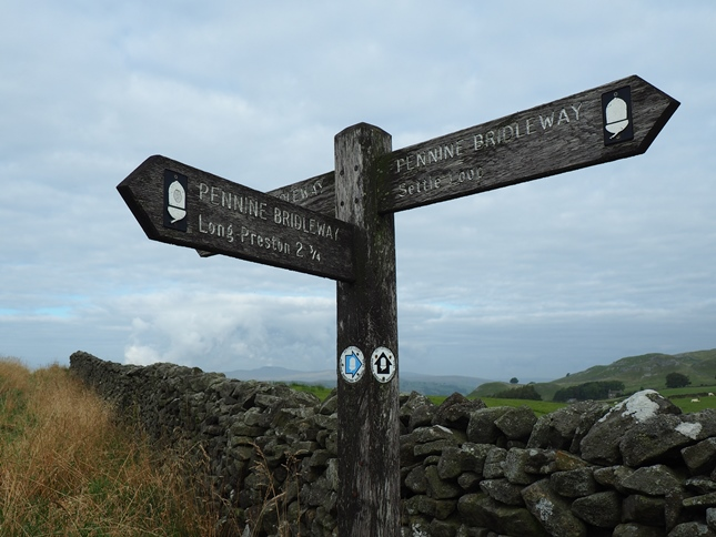 The Pennine Bridleway sign at the junction of Lambert Lane and Mitchell Lane