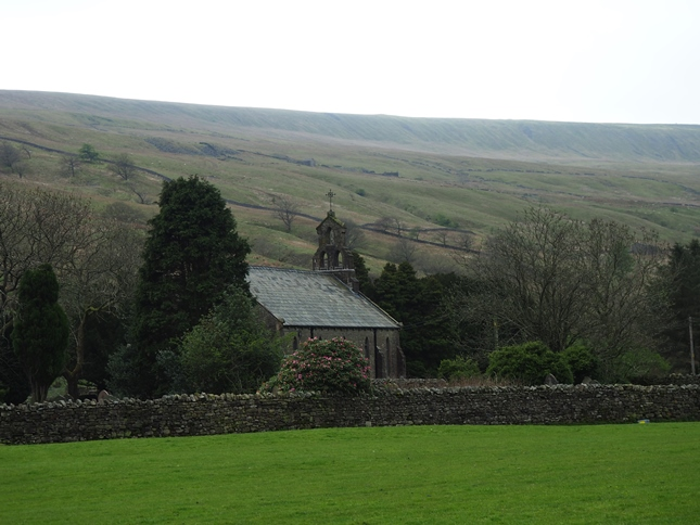 Church of St John the Baptist, Garsdale with Rise Hill in the background