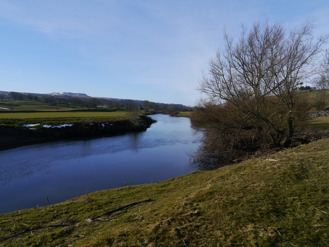 Looking west along the River Ure with Addlebrough in the distance on the left