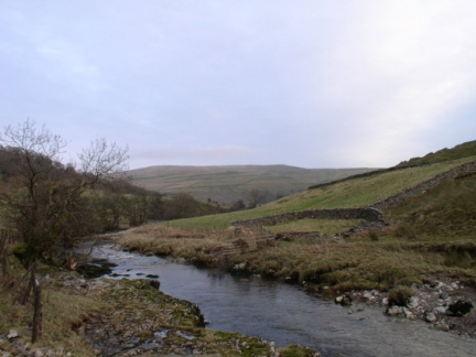The River Wharfe looking towards Buckden Pike