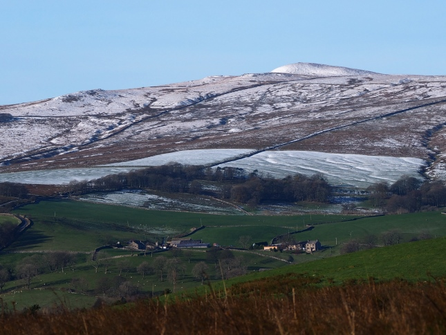Looking across Malhamdale to a snow-topped Rye Loaf Hill