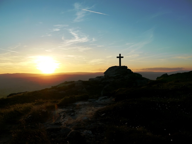 Another view of the Rylstone Cross as the sun goes down