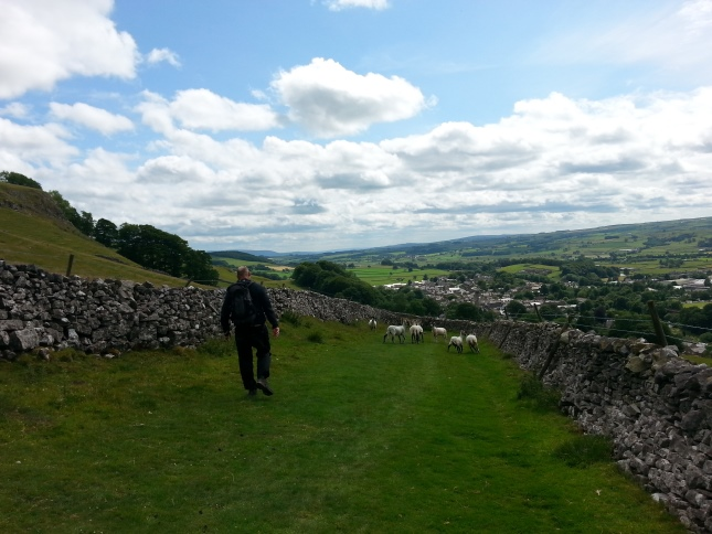Tim walking back down Banks Lane towards Settle