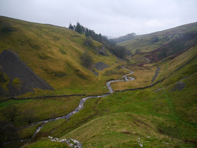 Looking back down on Skyreholme Beck as we climbed Middle Hill