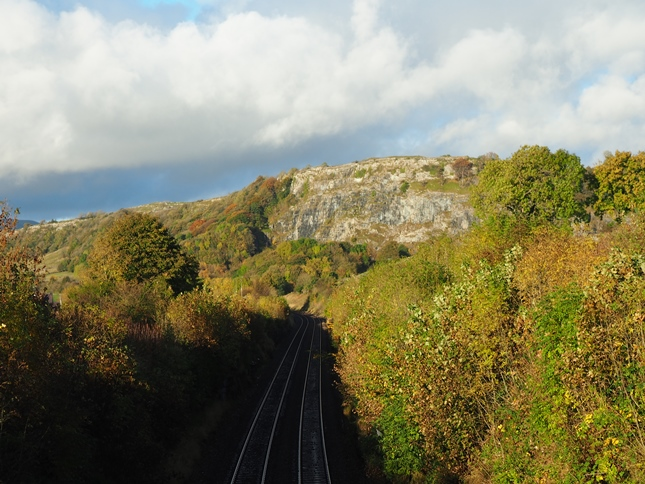 Looking along the Settle - Carlisle line towards Stainforth Scar