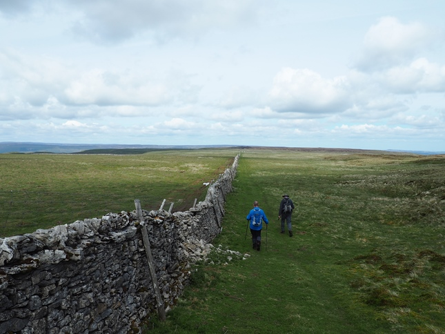 Following the wall on Stake Moss after finally leaving the peat behind