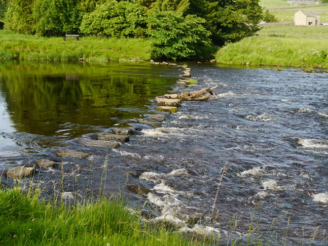 Stepping stones across the River Wharfe