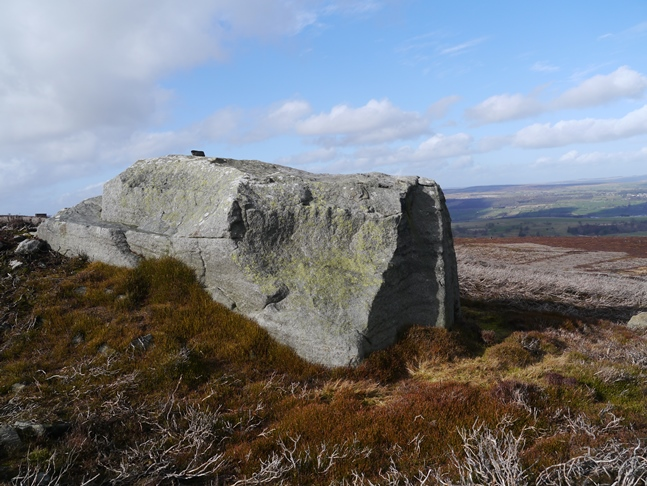 Another view of the gritstone boulder called Strut Stear