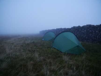 Our pitch next to the wall on Swarth Fell