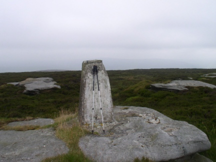 The battered trig point on Thorpe Fell