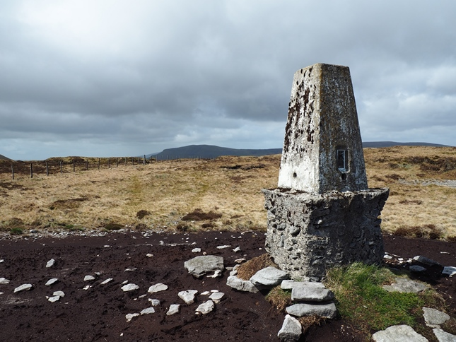 The distinctive trig point on Darnbrook Fell