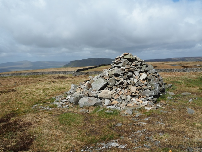The cairn marking the summit of Fountains Fell
