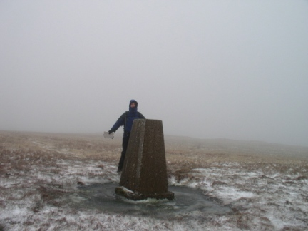 Matt by the trig point on Gragareth
