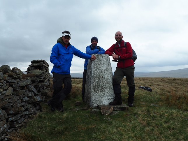 With Wally and Jason by the trig point on Aye Gill Pike, the summit of Rise Hill