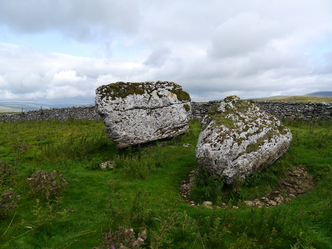 Twin limestone boulders close to Bare House Lane