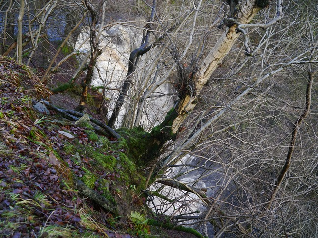 Looking down on Whitfield Gill Force from the abrupt end of an upper path