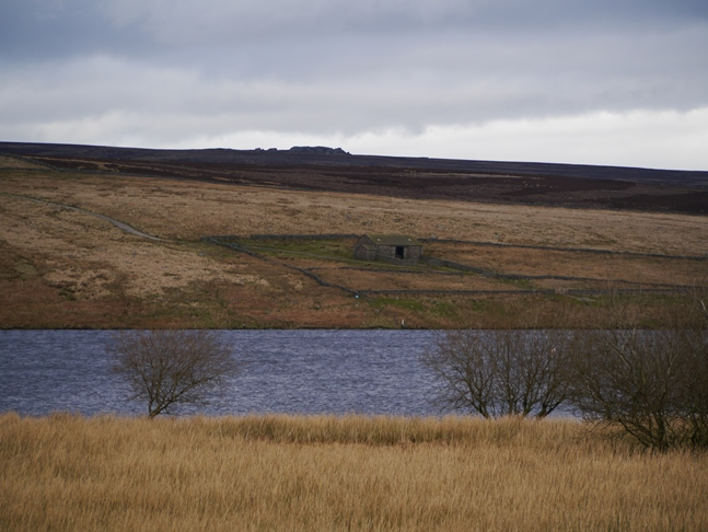 Looking across Grimwith Reservoir to the Wig Stones on the skyline above