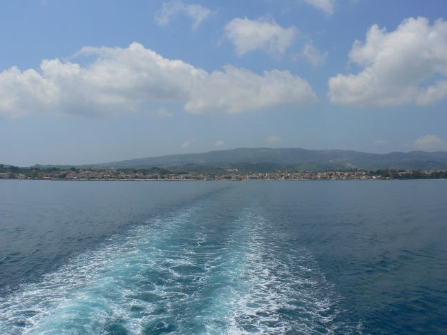 Looking back at Lixouri from the ferry