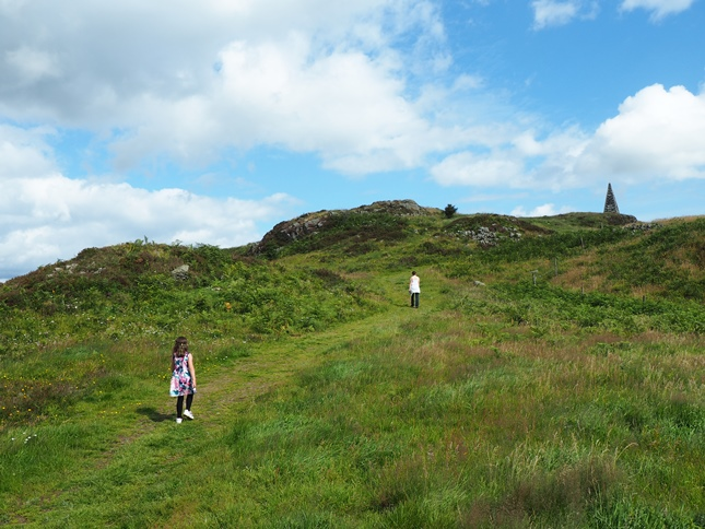 Rhiannon and Lisa climbing the upper slopes of Barstobrick Hill