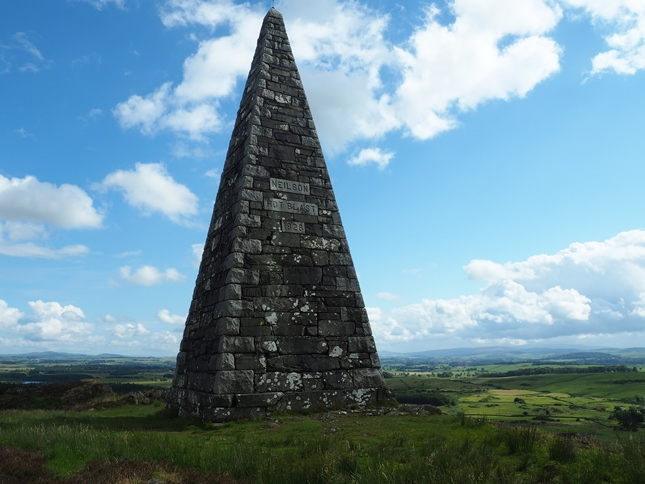 The Neilson Monument on the top of Barstobrick Hill