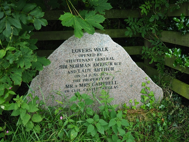 An inscribed stone marking the start of the Lovers Walk
