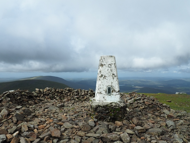 The trig point on Merrick, the highest point in the Southern Uplands of Scotland