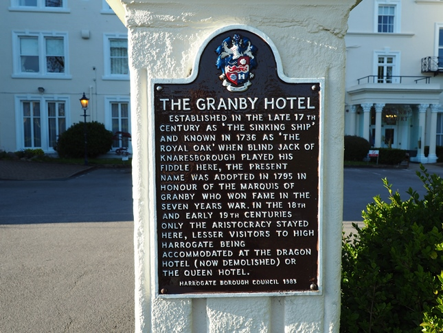 A plaque explaining some of the history of the former Granby Hotel