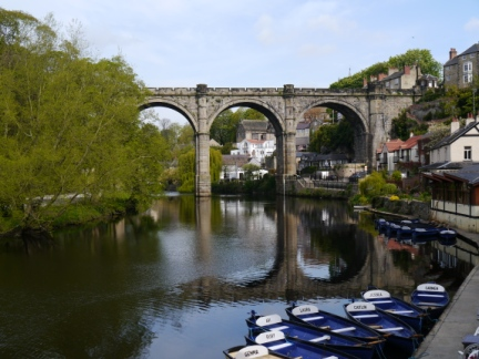 Knaresborough waterfront looking to the viaduct