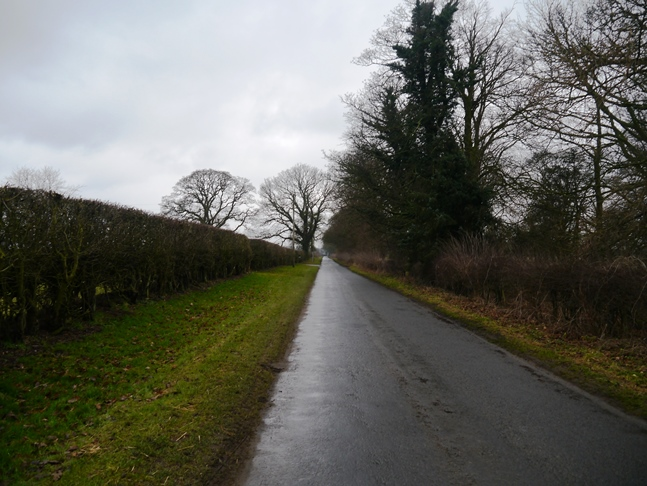 Looking back along Moor Lane on the first stage of the 'Country Loop'
