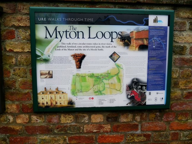 Information board about the Myton Loops at the start of the walk