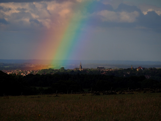 A dramatic rainbow over Harrogate