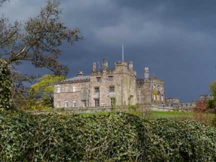 Rain clouds gathering over Ripley Castle